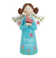 Trust God Angel Holding Butterfly, Blue