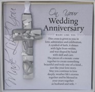 On Your Wedding Anniversary Mosaic Cross Ornament