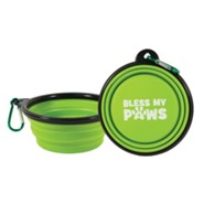 Collapsible Pet Bowl with Carabiner, Green
