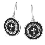 Crown Of Thorns And Cross Earrings, Sterling Silver
