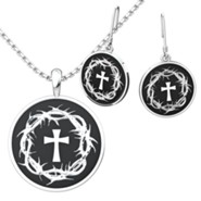 Crown Of Thorns and Cross Pendant and Earrings Set