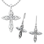 Leaf Cross Pendant and Earrings Set