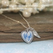Blue Angel Heart Cameo Memory Necklace