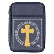 I Can Do All Things Through Christ Bible Cover, Denim, Large