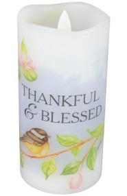 Thankful and Blessed Flameless LED Candle