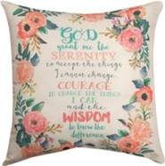 Serenity Prayer, Floral Pillow