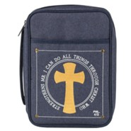 I Can Do All Things Through Christ Bible Cover, Denim, Small
