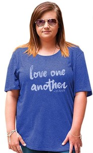 Love One Another Shirt, Heather Blue, Medium
