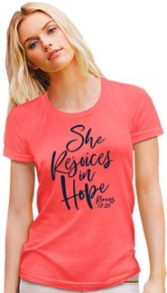 She Rejoices In Hope Shirt, Heather Coral, Medium