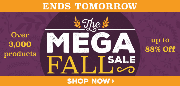 Mega Fall Sale Ends Tomorrow
