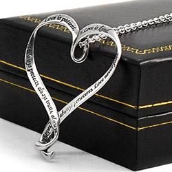 Sterling Ribbon Heart Pendant