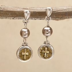 Faith Coin Cross Earrings
