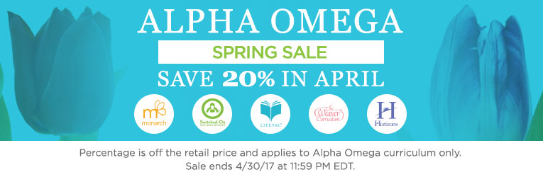 Alpha Omega April Spring Sale 20% off