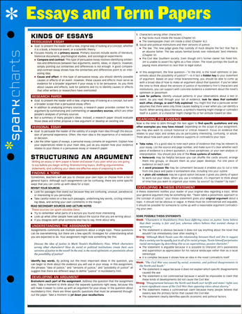 Reflective Essay On English Class Essays And Term Papers Sparkcharts Sparknotes    Christianbookcom First Day Of High School Essay also Marriage Essay Papers Essays And Term Papers Sparkcharts Sparknotes   Analysis Essay Thesis Example