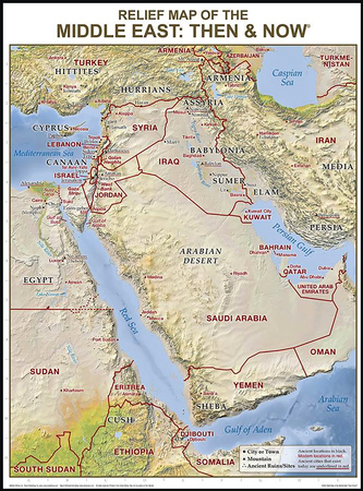 Middle East Relief Map Then and Now Wall Chart Laminated