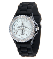 Silicone Watch with Cross, Black., Medium  -