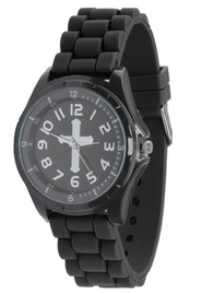 Silicone Watch with Cross, Black, Large  -