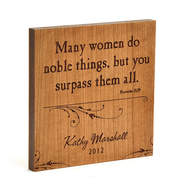 Personalized, Many Women Do Noble Things Square Plaque, cherry Wood  -