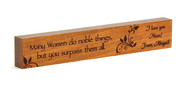 Personalized, Many Women Do Noble Things Long Cherry Wood Plaque, Small  -