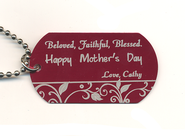 Personalized, Mother's Day Dog Tag, Red   -