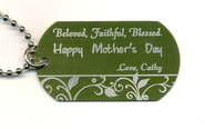 Personalized, Mother's Day Dog Tag, Green   -