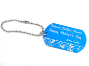 Personalized, Mother's Day Dog Tag, Blue   -