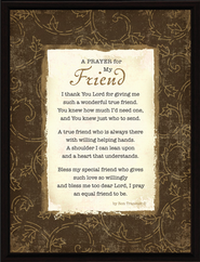 A Prayer for My Friend Plaque  -