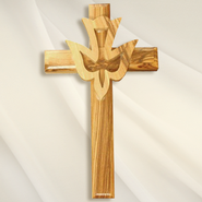 Olive Wood Cross with Dove   -