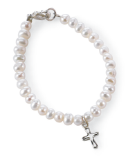 Baby's Fresh Water Pearl Bracelet with Cross  -