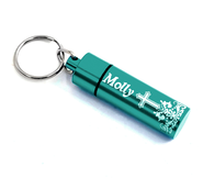Personalized, Pill Box with Name and Cross, Teal   -