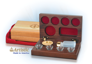 4-Cup Walnut Wooden Communion Set  -
