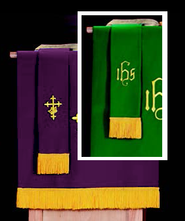 Pulpit Scarf with IHS, Purple / Green  -