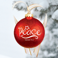 Christmas Swirls - Glass Ornament - Peace  -