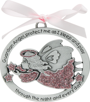 Protect Me While I Sleep Crib Charm, Pink Angel  -