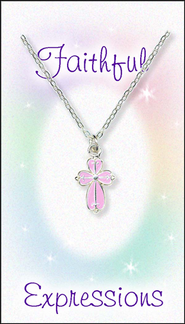Cross Necklace Pink  -