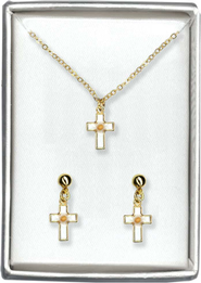 Mustard Seed Cross Necklace and Earrings Set   -