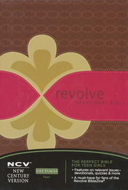 NCV Revolve Devotional Bible: The Complete Bible for Teen Girls - LeatherSoft/Chocolate, Raspberry & Biscuit - Slightly Imperfect  -