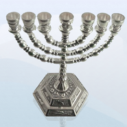 Twelve Tribes Menorah, Silver Plated   -