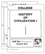 Advanced High School or College Elective: History of Civilization 1 SCORE Keys 1-10  -