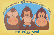We Miss You! Monkey Postcards, 25               -