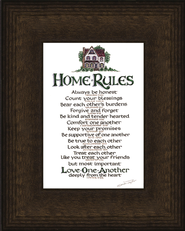 Home Rules, Mahogany Burl Framed Print   -