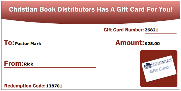 Gift Card Christianbook – Sample Gift Card