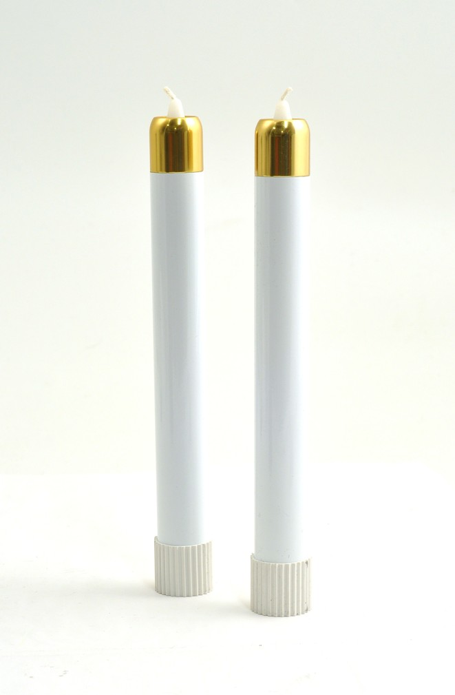 Tube Candles, 9 x 1, with Brasstone Tops, Set of 2