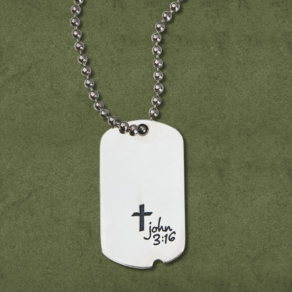 John 3:16 Sterling Silver Dog Tag Pendant