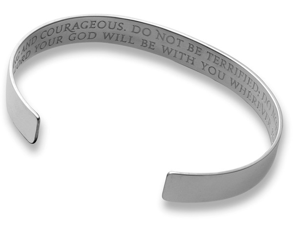Be Strong and Courageous, Men's Sterling Silver Cuff Bracelet