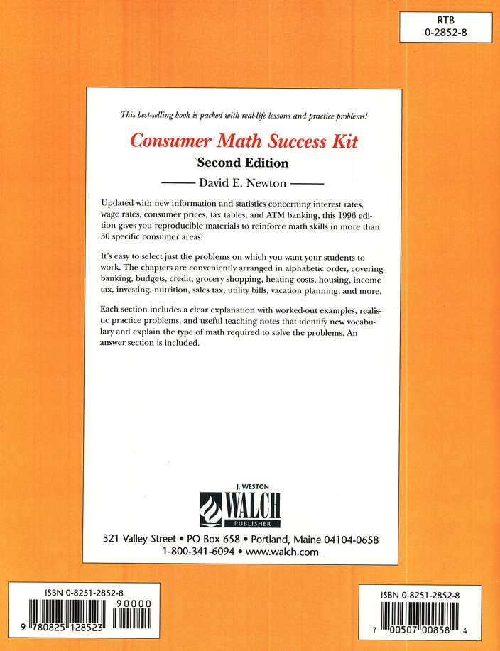 Consumer Math Success Kit, Second Edition: David Newton: 0825128528 ...