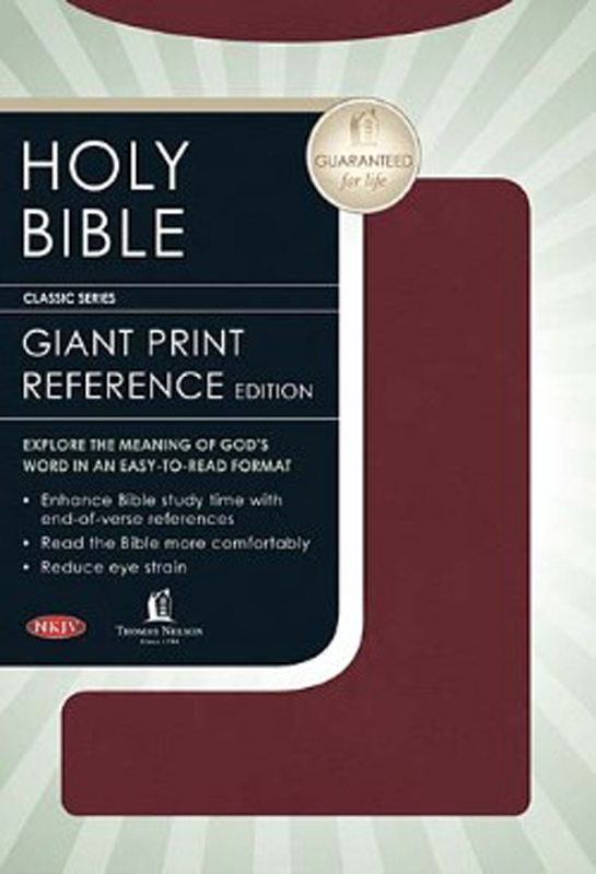 NKJV Personal Size Giant Print Reference Bible Burgundy Bonded Leather