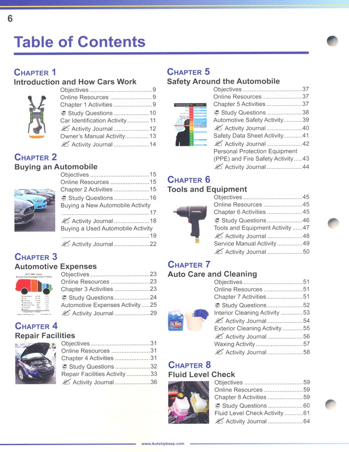 Auto Upkeep Maintenance Light Repair Auto Ownership And How Cars Work Paperback Textbook Workbook Set 4th Edition