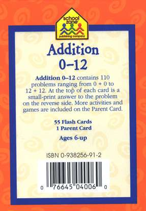 Addition 0 - 12, Math Flash Cards
