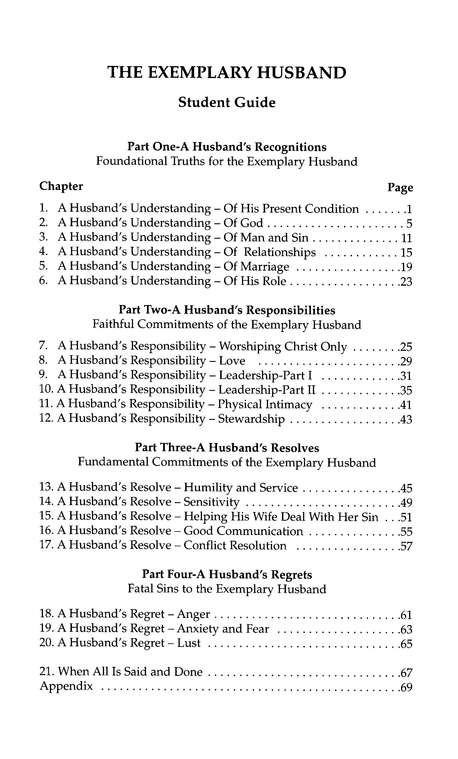 The Exemplary Husband Study Guide